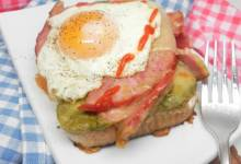 open-faced ham and cheese sandwich