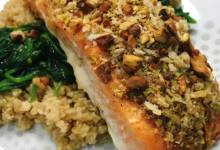 oven-roasted pistachio-crusted salmon