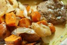 Pork Chops with Apples, Onions, and Sweet Potatoes