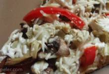 Portobello Mushroom, Fresh Peppers and Goat Cheese Pizza