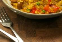 pressure cooker paella with chicken thighs and smoked sausage