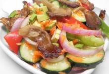 refreshing salad with grilled oyster mushrooms