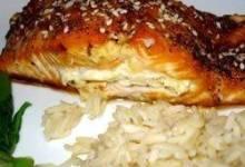 sara's soy marinated and cream cheese-stuffed salmon