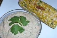 sauteed corn on the cob with chili-lime-cilantro spread