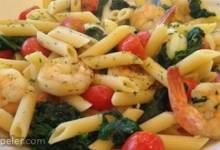 Sauteed Shrimp with Spinach, Tomatoes, and Spaghetti Squash