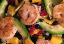 summer fruit, shrimp, and avocado salad