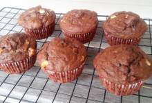 white chocolate, fruit, and spice muffins